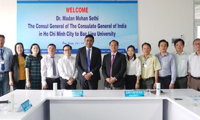 Trường Đại học Bạc Liêu đón tiếp Lãnh Sự – Tổng Lãnh Sự Quán Ấn Độ tại Thành phố Hồ Chí Minh